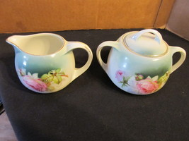 """Vintage German  """"Hand Painted Pink Rose"""" Creamer &  Sugar Bowl With Cover - $33.65"""