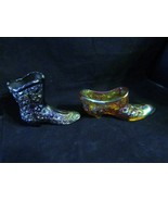 "Vintage Fenton ""Carnival -Button & Daisy"" Irridescent Boot & Slipper - $46.74"