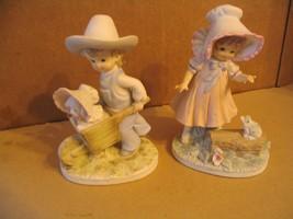 "Vtg. Lefton, "" Boy Pushing Wheelbarrow & Girl with Frog ( KW230)"" Figurines - $46.74"
