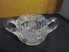 """Vintage EAPG """" Etched Pinwheel Button & Daisy"""" Double Handled Sugar Bowl - $28.04"""