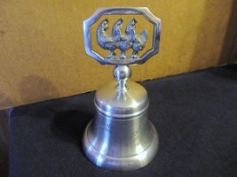"""Crown & Roses 12 Days of Christmas Pewter Bell """" Three French Hens """" - $37.39"""