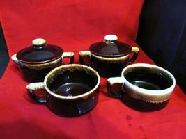 Vtg. Pfaltzgraff  Brown Drip Coffee Cups / Creamer & Sugar-Both have Covers - $37.39