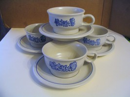 """Vtg.  Pfaltzgraff Pottery"""" Yorktowne"""" Footed Cups & Saucers - $28.04"""