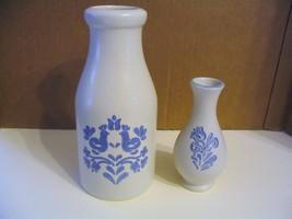 """Vtg.  Pfaltzgraff Pottery"""" Yorktowne"""" Milk Bottle Vase & Bud Vase - $37.39"""