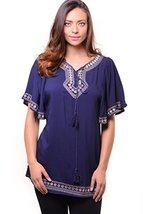 ICONOFLASH Women's Navy Embroidered Tunic with Flutter Sleeve, Size Large/Ext... - $34.64