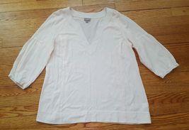 J JILL Women Peach Lt Orange Cotton Crepe Notch Neck 3/4 Sleeve Tunic To... - $12.86