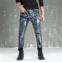 Men Fashion Paint Golden Coating Stretch Bike Jeans image 2