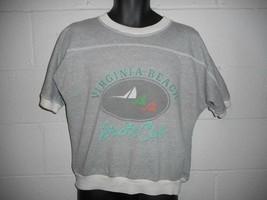 Vintage 80s 90s Virgina Beach Yacht Club Cropped Short Sleeve Sweatshirt... - $24.99