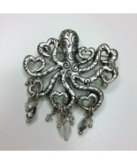 Chico's Octopus Kracken Silver Tone Brooch Pin Fillagree Beads Heart - $14.84