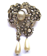 Vintage Hollycraft Clear Rhinestone Pearl Dangles Big Brooch 1960's  - $34.00