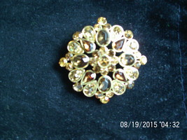 LC Brooch , Amber Color Rhinestones - $5.00