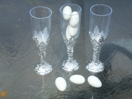 "24 Plastic cup candy holder favor 4"" tall mini flute like shape - silver  - $8.98"