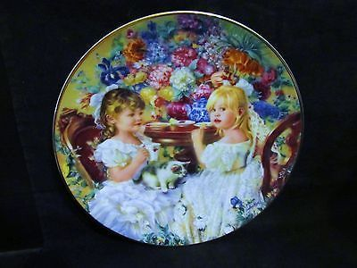 "Sandra Kuck's "" The Tea Party"" in The Hearts and Flowers Series Plate"