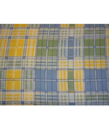 Cotton Fabric Yellow, Blue, Green and White Plaid - $10.00