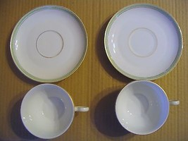 Vtg. H & C Selb Bavarian China ( Palace--Greek Key-Green Pattern) Cups &... - $30.84