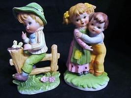 """Vtg. Lefton,Hand Painted,"""" Boy Stradled Fence & Boy & Girl Hugging""""  Fig... - $28.04"""