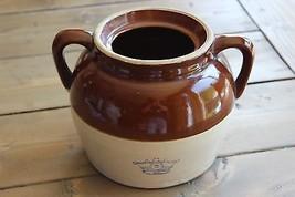 Antique Stoneware Bean Pot Cobalt Blue Crown 2 Quart Robinson-Ransbottom... - $39.60