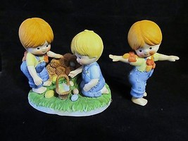 Vtg. Pair of Enesco 1981 Easter Egg Hunt & 1982-Girl Playing Porcelain Figurines - $23.36