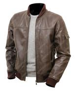Men's Flight Brown Real Leather Varsity Letterman MA-1 Bomber Jacket - $94.00