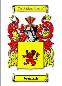 BONCLARK Coat of Arms Surname Print - Genealogy Bonanza
