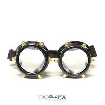 GloFX Black Bolt Steampunk Goggles Aviator Sunglasses Rave Ravers DJ Dancers EDM - $19.98