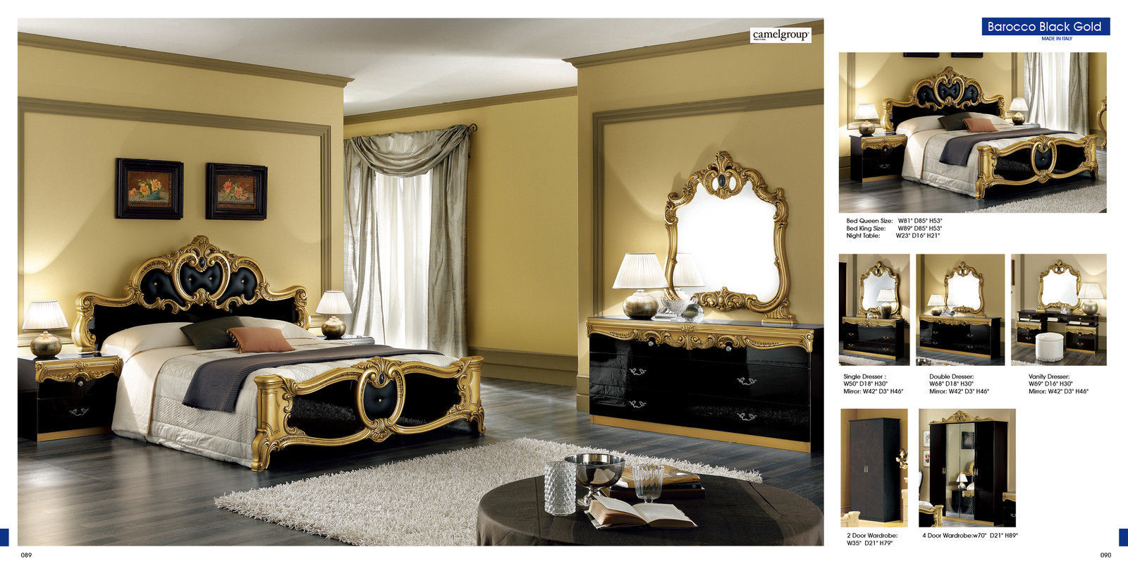 Classic Style Barocco Black & Gold Veneer Bedroom Set Queen Size Contemporary