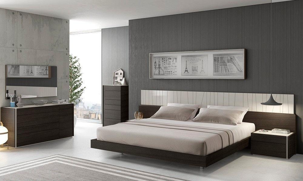 J&M PORTO Queen Size Bedroom Set Chic Modern Light Grey Lacquer & Wenge Veneer