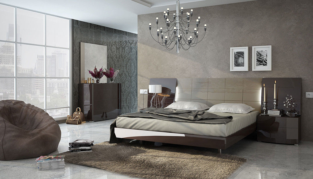 Modern ESF Barcelona Chocolate & Beige Lacquer Queen Size 5 Piece Bedroom Set