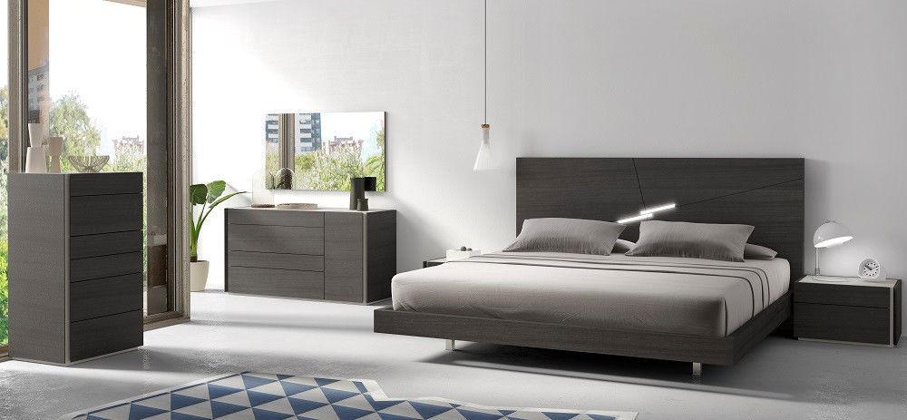 J&M Chic Modern Faro Wenge Veneer Queen Size Bedroom Set Contemporary