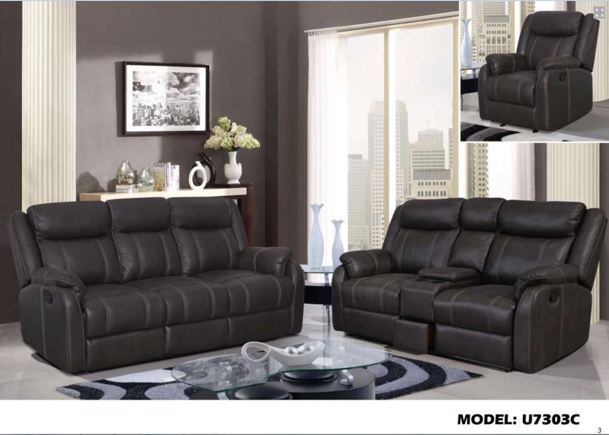 Global Furniture U7303C Living Room Sofa Set Chic Modern Contemporary Recliner