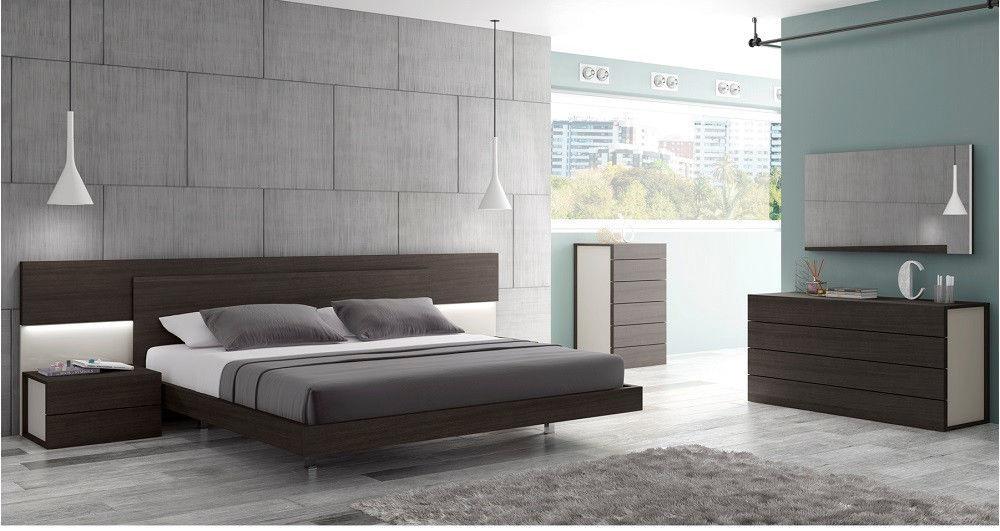 J&M Chic Modern Maia Wenge Veneer & Light Grey Lacquer Queen Size Bedroom Set