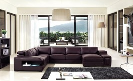 Divani Casa T132V Modern Brown Bonded Leather Sectional Sofa