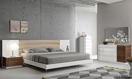 J&M Chic Modern Lisbon White Lacquer & Walnut Veneer Queen Size 5pcs Bedroom Set