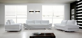 Special Order Vanity White Leather Sectional Sofa Set Contemporary Design