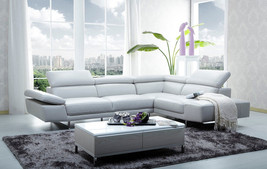 J&M Modern 1717 Full White Italian Leather & Adjustable Headrests Sectional Sofa