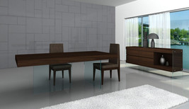 J&M Chic Modern Float Chocolate Veneer 7 Piece Dining Set Contemporary