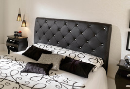 621 NELLY Modern Bedroom Set Black Queen Contemporary Button Tufted Leatherette
