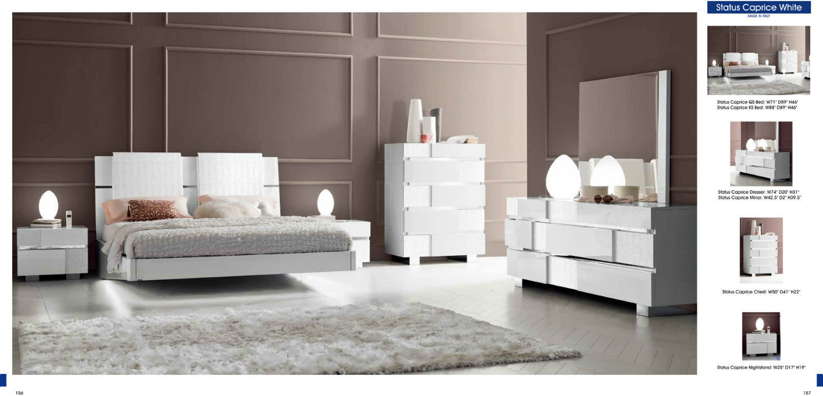 Chic Modern Status Caprice High Gloss White Veneer Crocodile Texture Bedroom Set