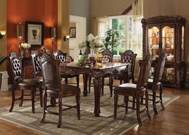 Acme 62025 Vendome Traditional Cherry Finish Counter Height Dining Table Set