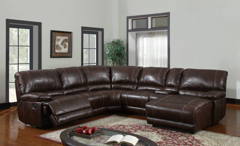 Global Furniture Chic Modern U1953 Brown Bonded Leather Sectional Sofa