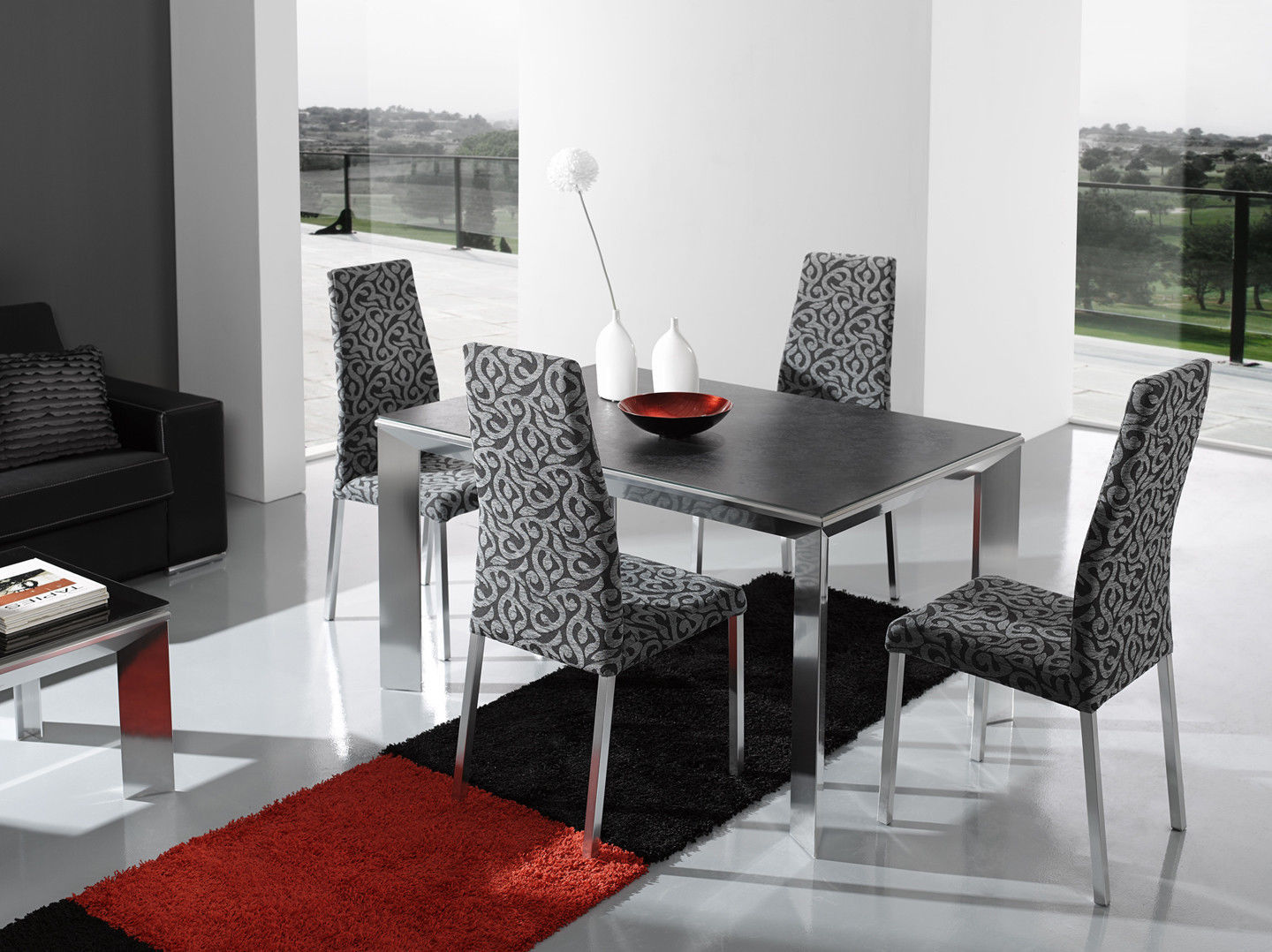 Chic Contemporary Style Nadia Table with Patry Chairs Dining Set Modern Design