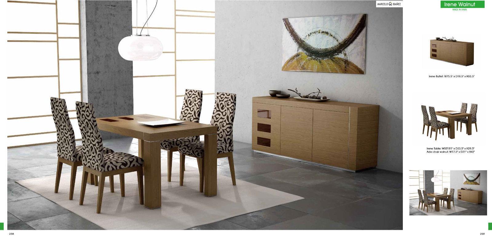 Chic Modern ESF Irene Walnut Veneer & Brown Accents 5 Piece Dining Set