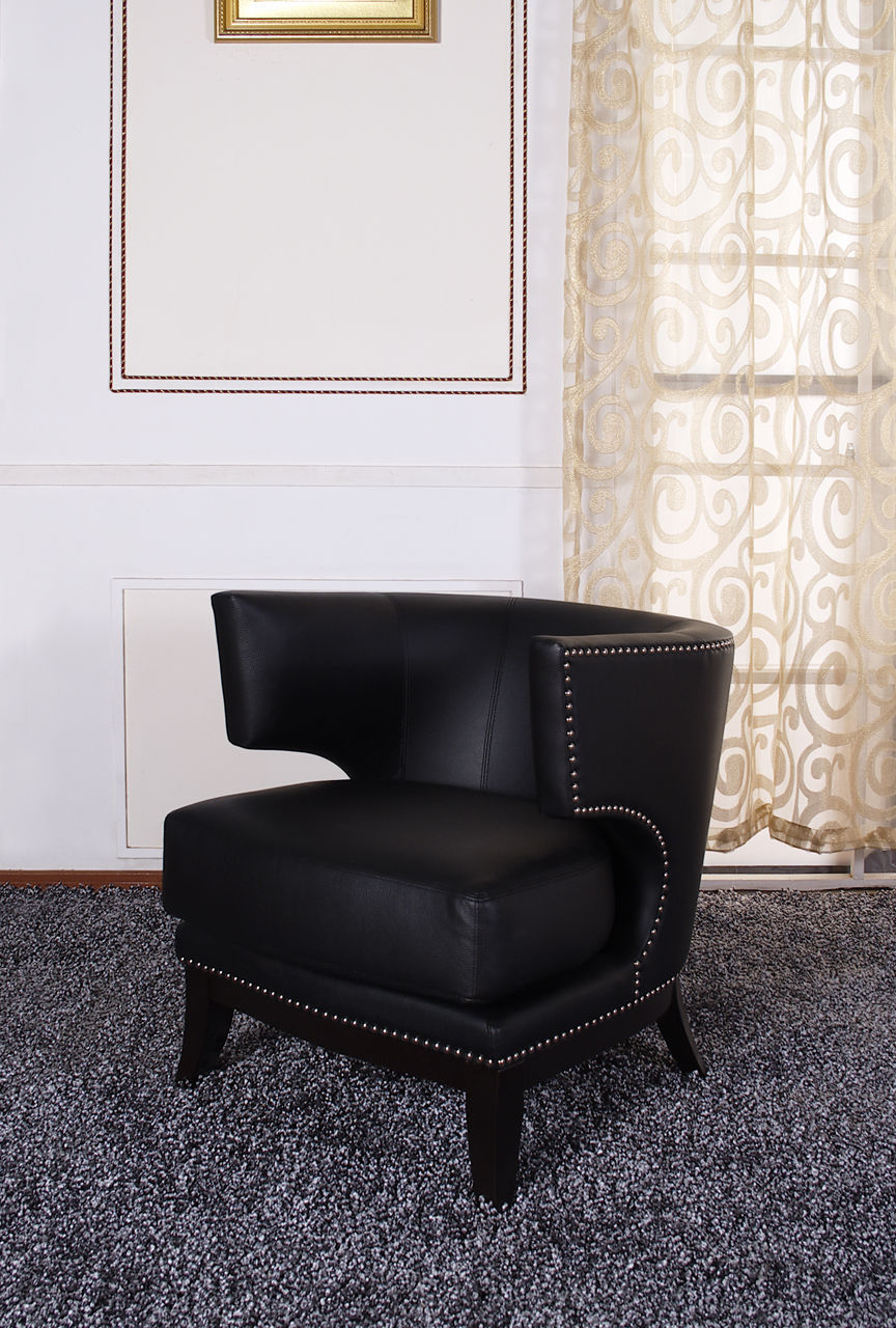 Eclipse Club Chair, Black Vinyl With Nailhead Accents And Espresso Wood Finish