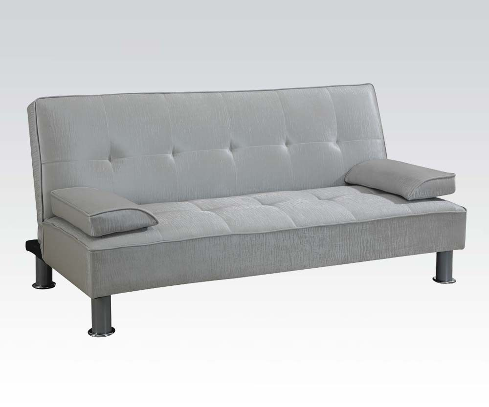 Acme 57068 Modern Silver PU Sleeper Sofa