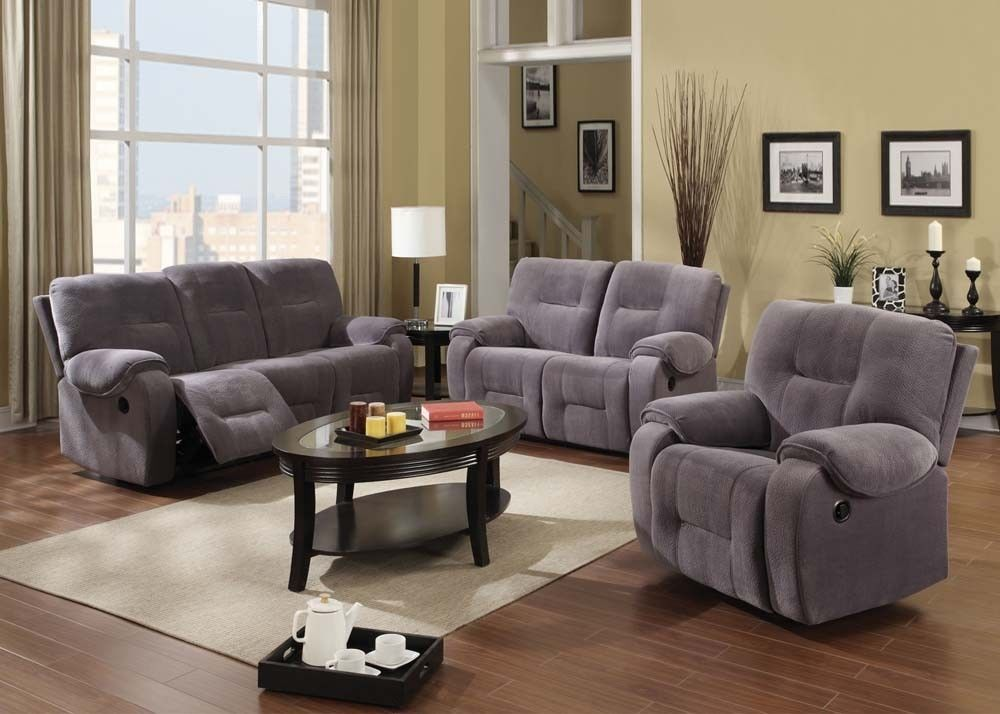 Acme Villa 50800 Modern Light Gray Champion Reclining Sofa Set