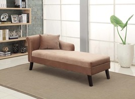Armen Living LCMCH009FABR Patterson Brown Chenille Chaise