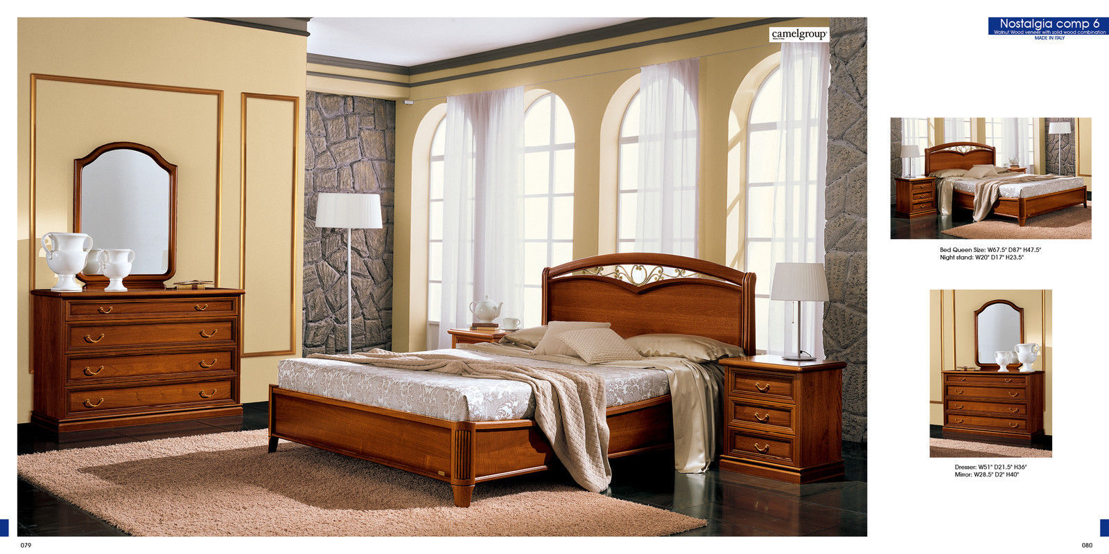 Camel® NOSTALGIA Bedroom Set Classic Unique Design Made In ITALY