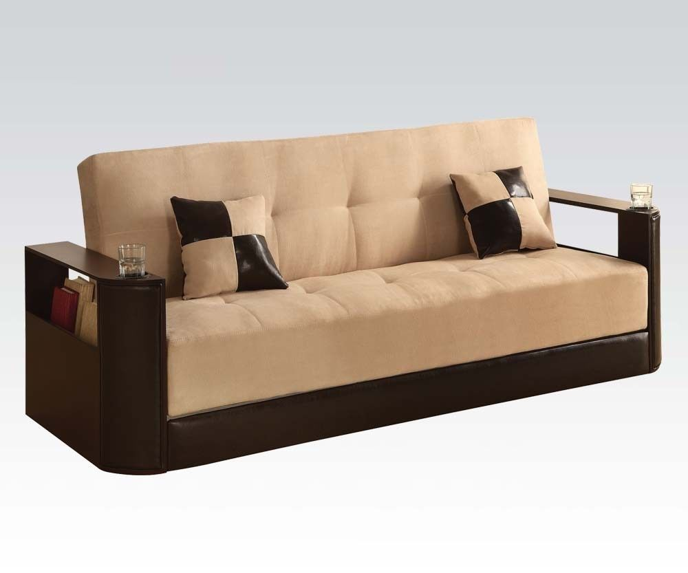 Acme 57032KIT Modern Cream Microfiber & Brown PU Adjustable Sectional Sofa