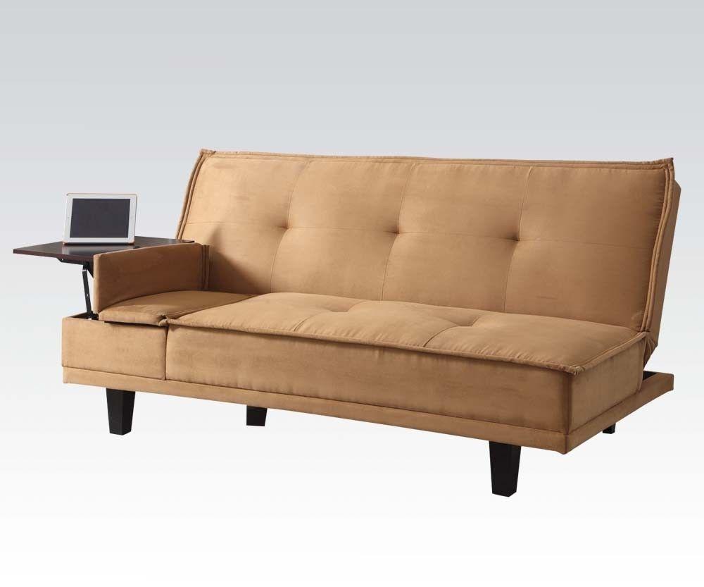 Acme 57127 Modern Light Brown Microfiber Sleeper Sofa w/Hidden Table
