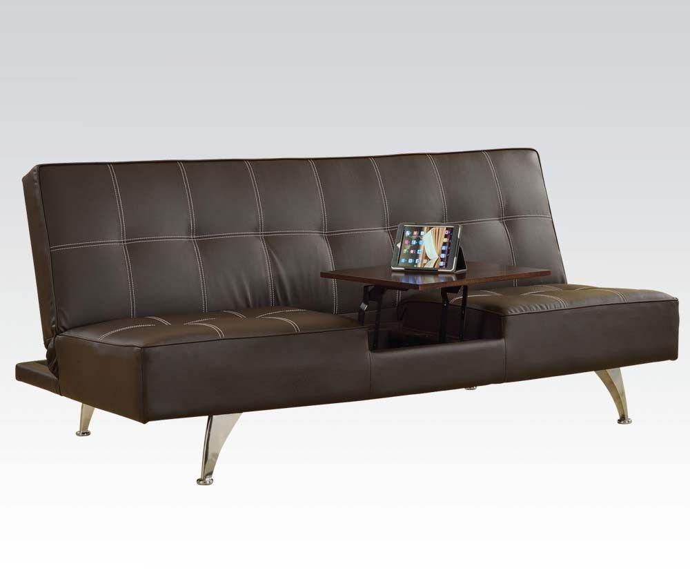 Acme 57129 Modern Brown PU Sleeper Sofa w/Hidden Table